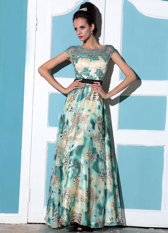 Elegant Blue Chiffon Floral Print Lesbian Wedding Dress