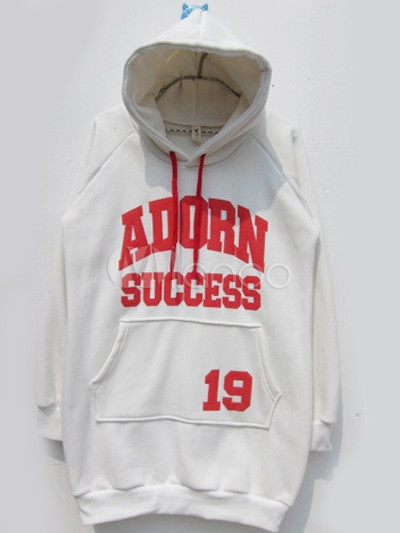 Loose White Letters Print Cotton Women's Hoodie