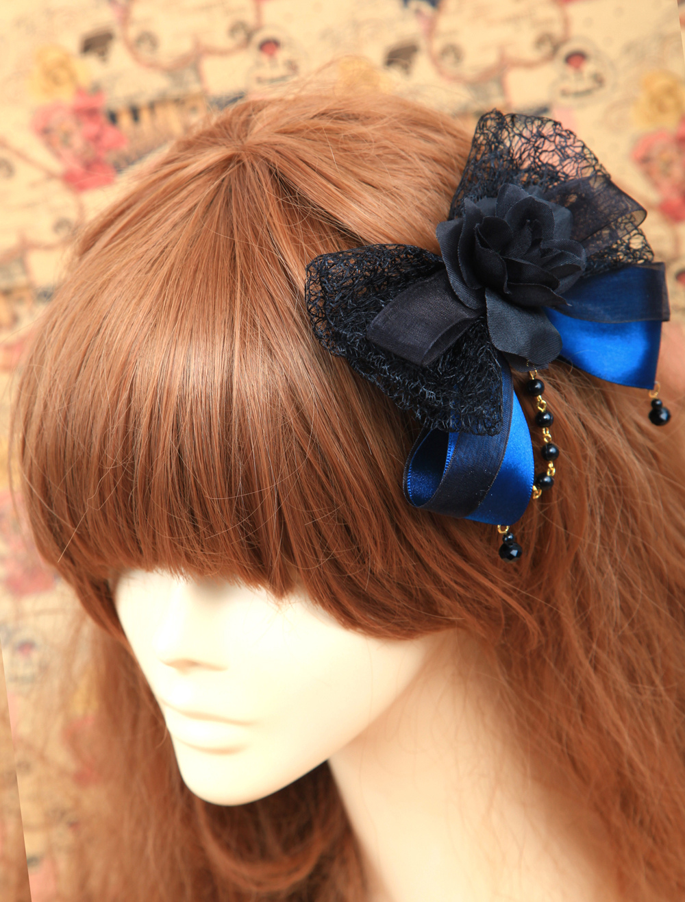 Classic Black And Blue Cotton Flower Lolita Headdress