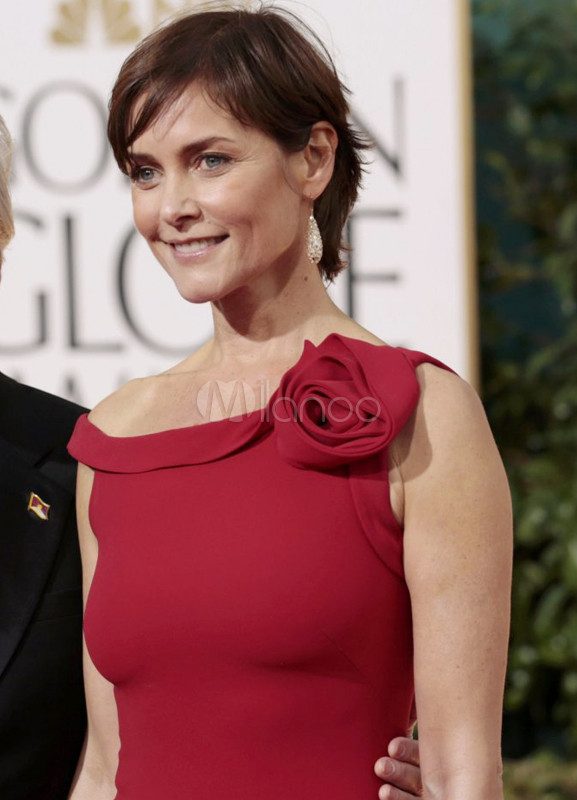 Elegant Sheath Red Bateau Flower Carey Lowell Golden Globe