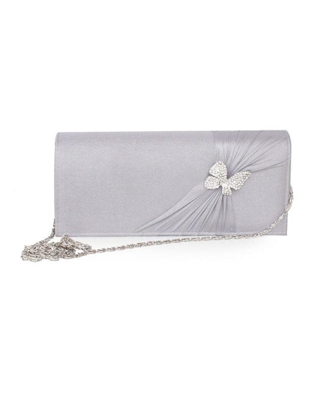 Butterfly Ruched Wedding Bag Silk Clutch Bag