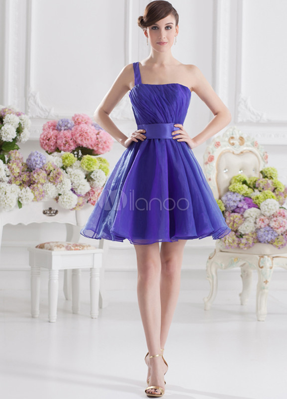 A-line Purple Organza One-Shoulder Short Wedding Bridesmaid Dress