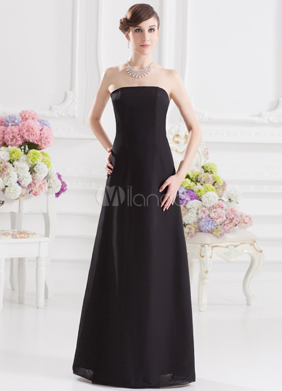 Concise A-line Black Chiffon Strapless Bridesmaid Dress