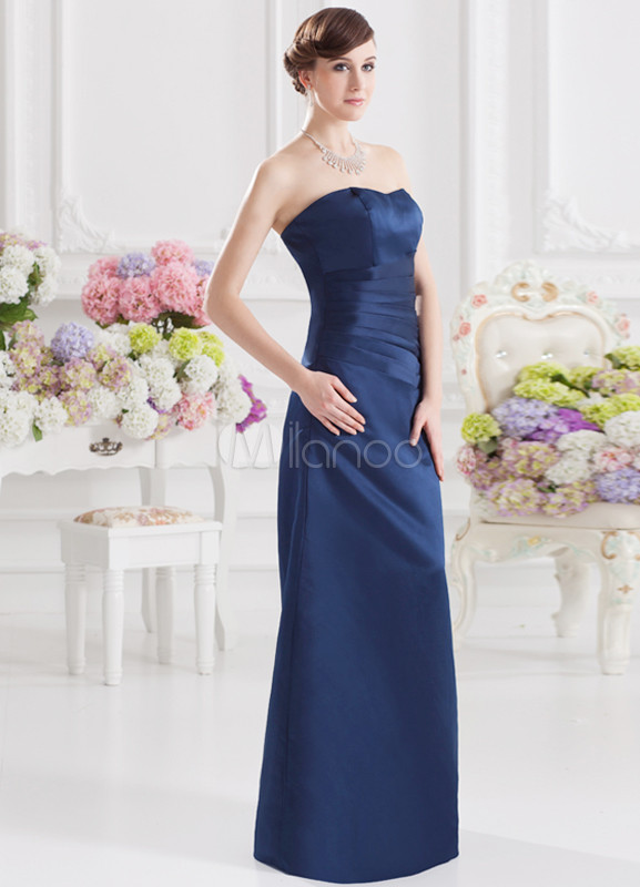 A-line Sweetheart Neck Ruched Dark Navy Satin Bridesmaid Dress