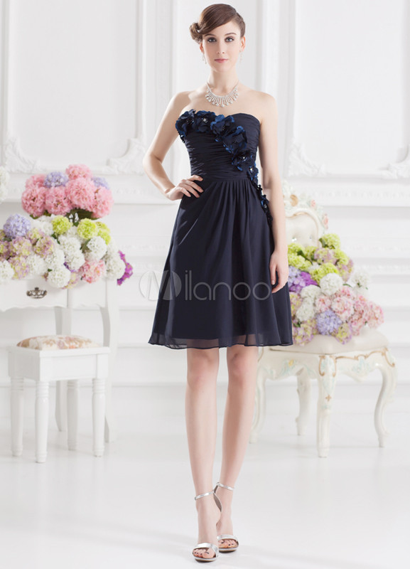 A-line Dark Navy Elastic Woven Satin Flower Sweetheart Neck Knee-Length Wedding Bridesmaid Dress