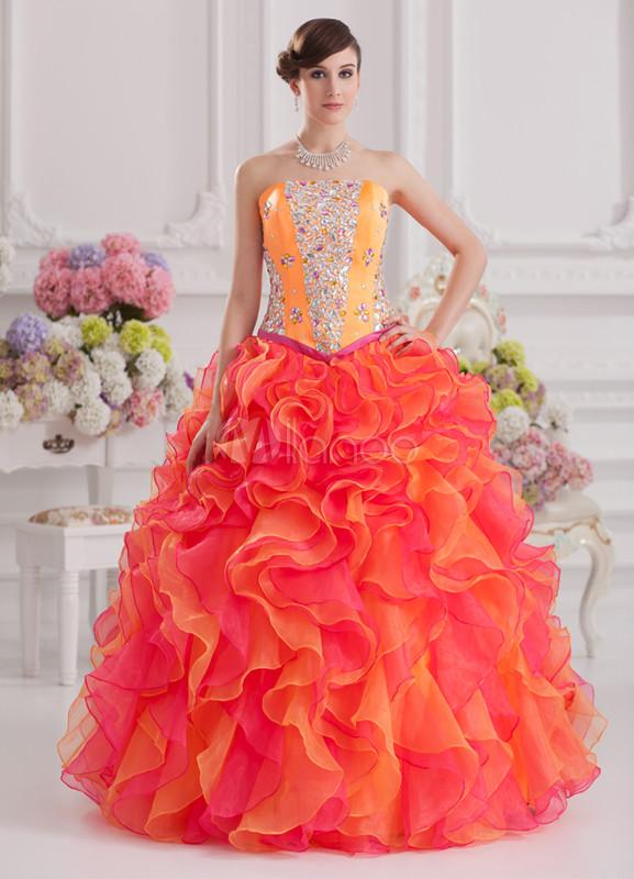 Gorgeous Beading Satin Organza Women's Ball Gown