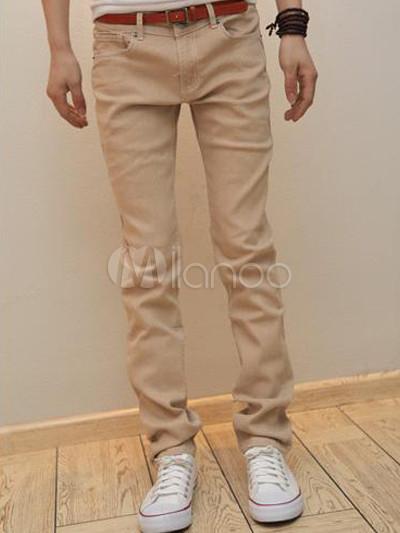 pantalon homme tendance coupe droite tissu denim beige. Black Bedroom Furniture Sets. Home Design Ideas