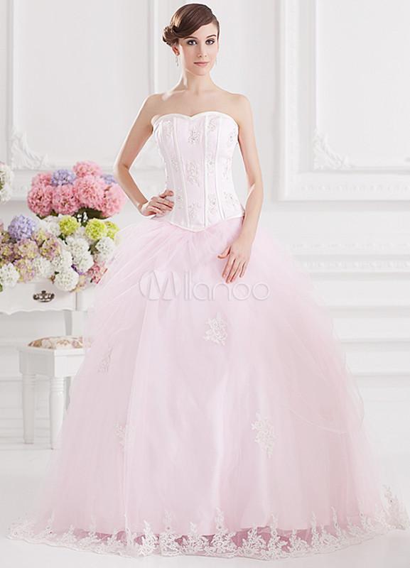 Sweet Pink Organza Applique Sweetheart Women's Ball Gown