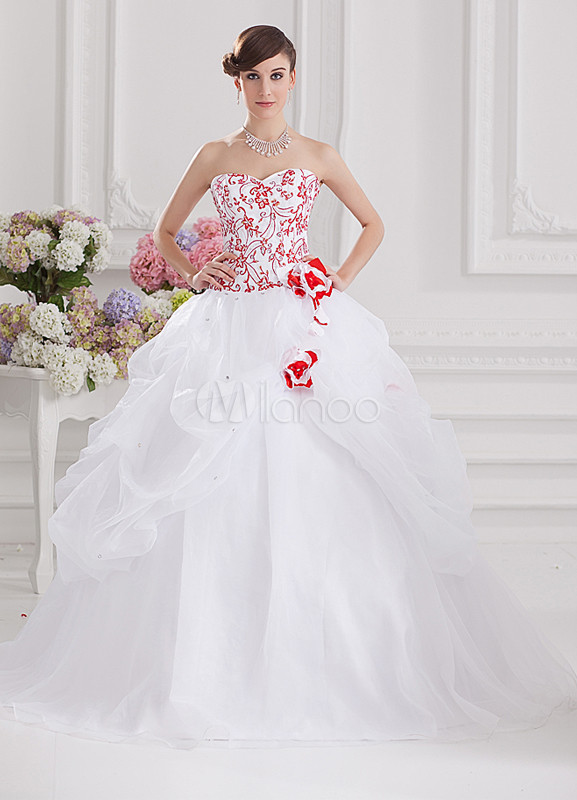 Grace White Organza Satin Embroidered Sweetheart Women's Ball Gown