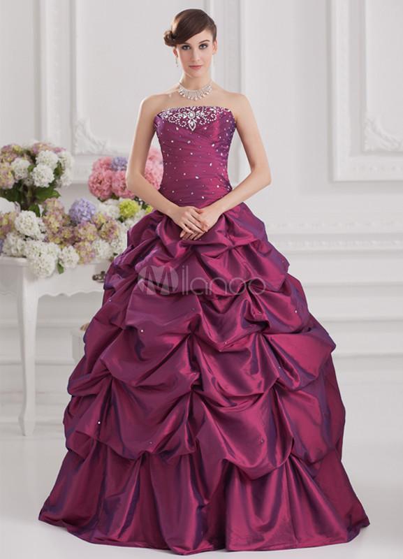Elegant Grape Purple Pleated Taffeta Beading Women's Ball Gown