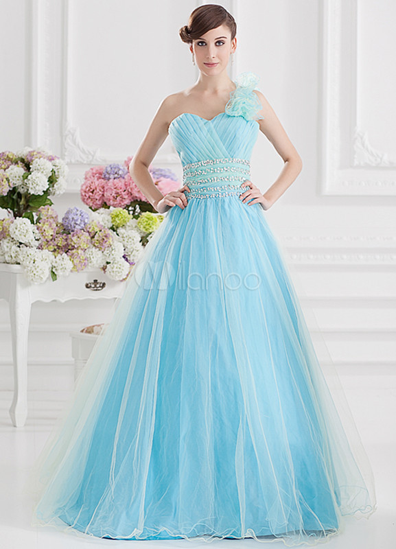 Grace Blue Beading One Shoulder Women's Ball Gown