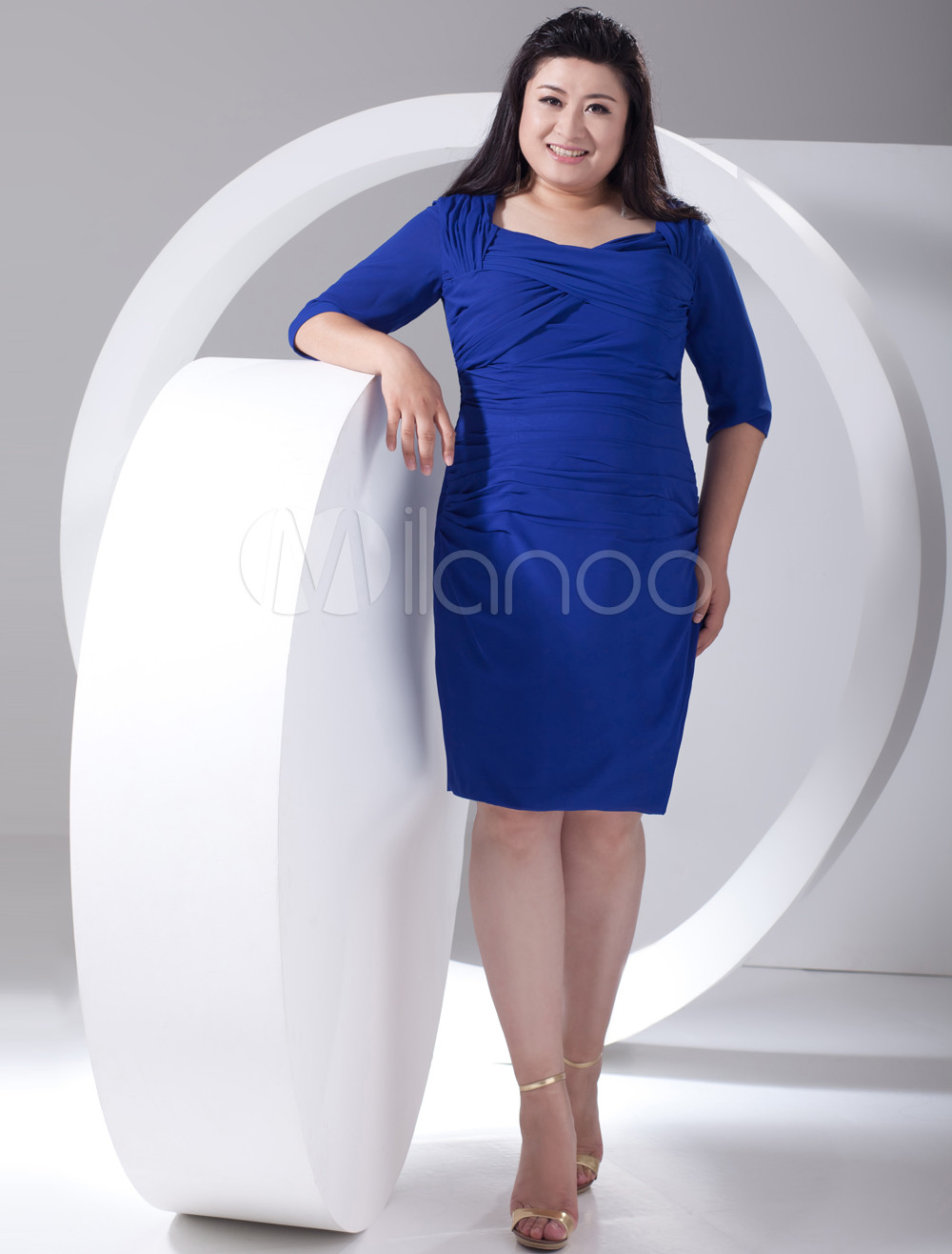 2013 Style Sheath Blue Chiffon Jewel Neck Plus Size Cocktail Dress