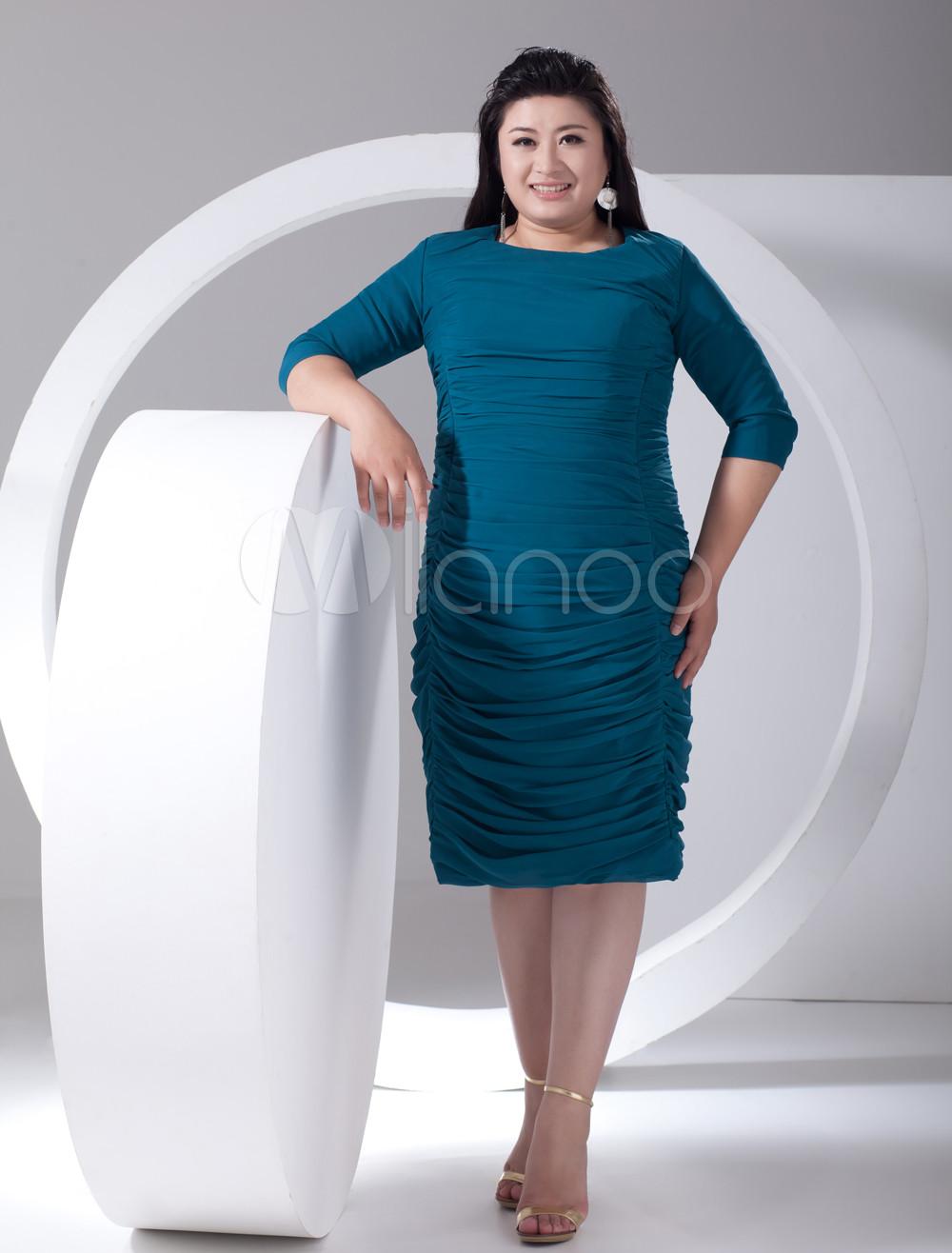 2013 Style Sheath Green Chiffon Jewel Neck Plus Size Cocktail Dress