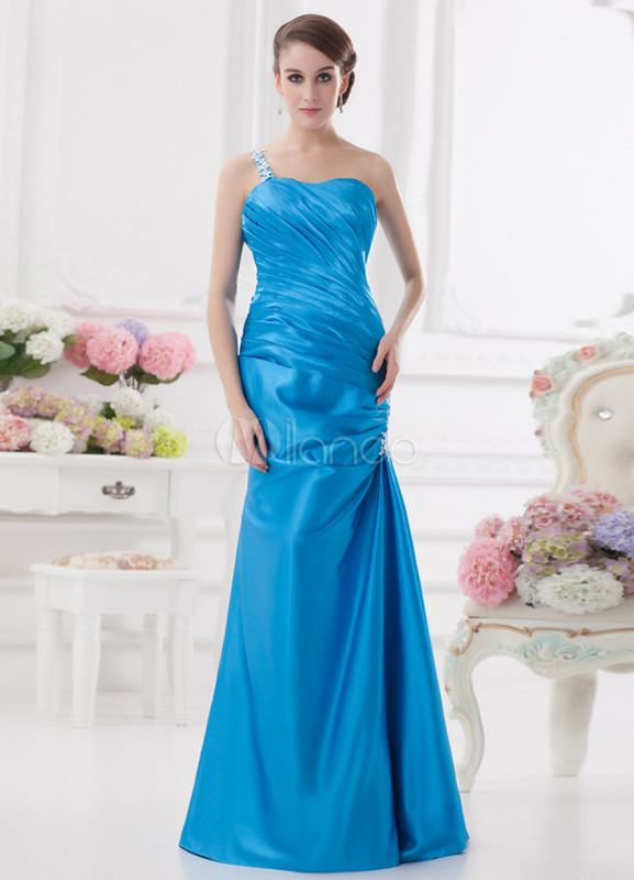 Sweetheart Neck Applique Elastic Woven Satin Light Sky Blue Elegant Bridesmaid Dress