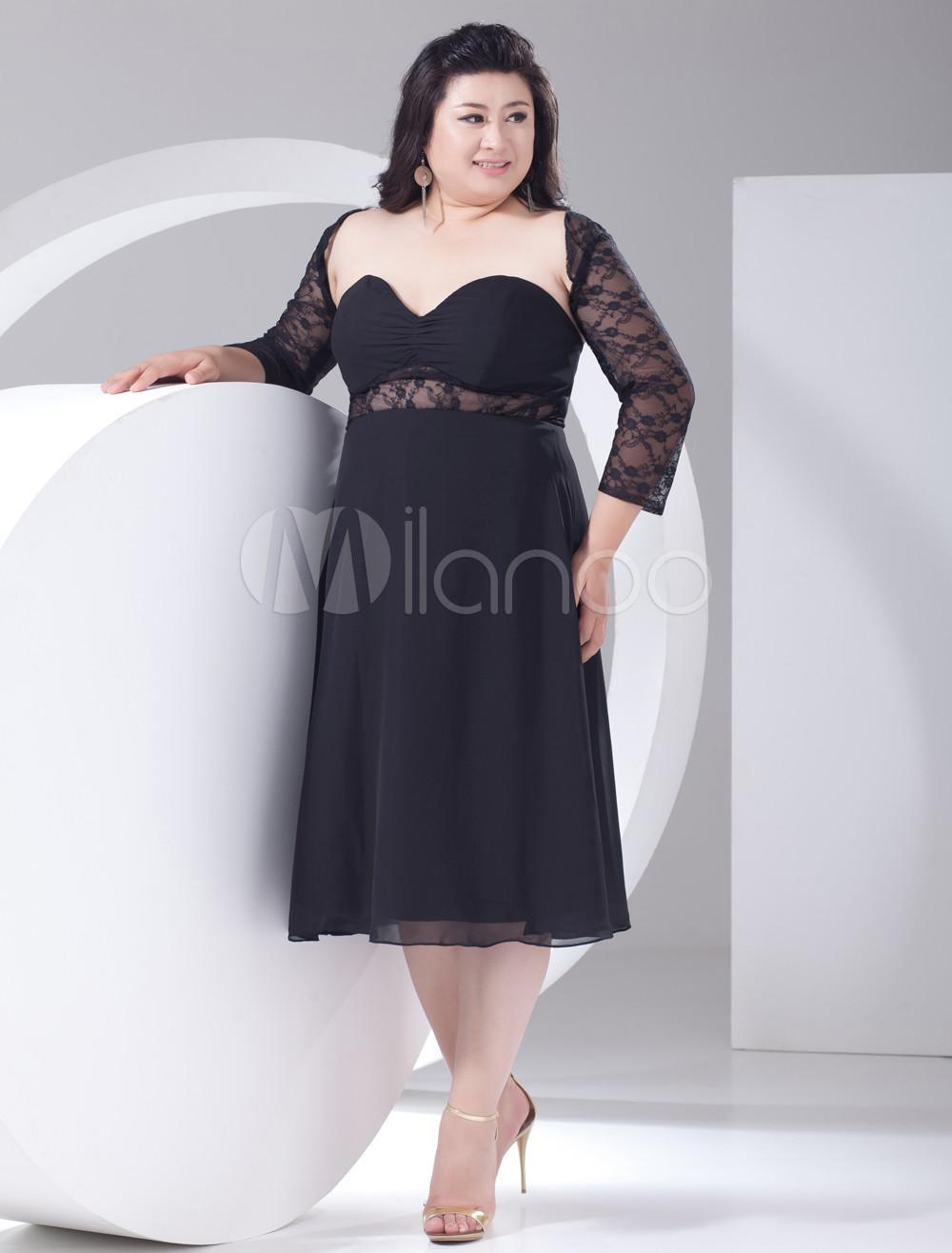 2013 Style Black Lace Cut Out Half-Sleeve Plus Size Cocktail Dress