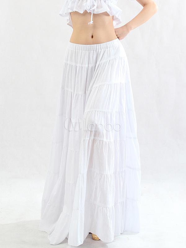 boh me blanche attrayante jupe longue en coton danse orientale. Black Bedroom Furniture Sets. Home Design Ideas