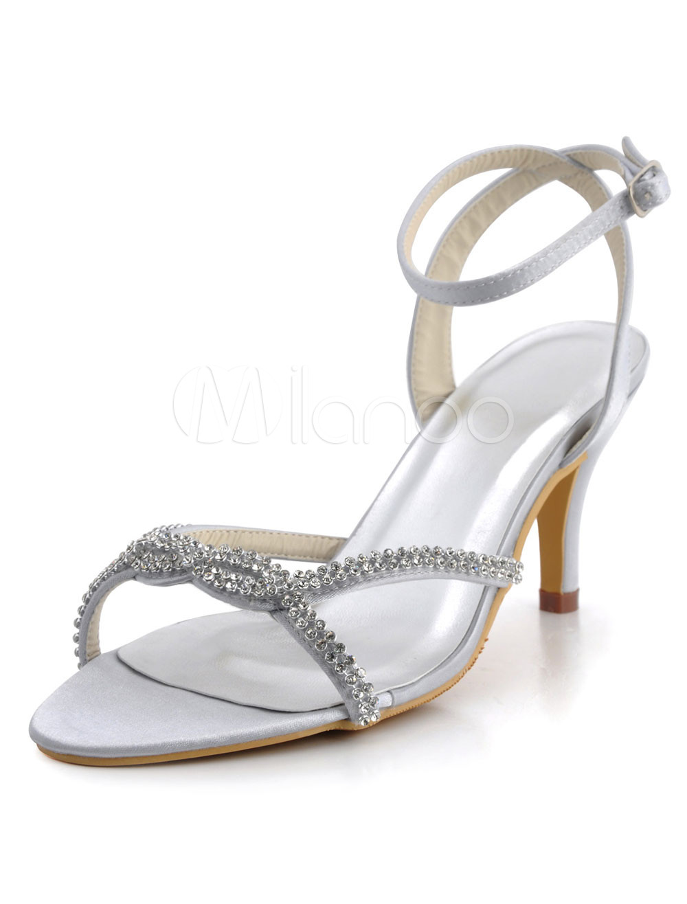 faschion damen sandaletten mit fesselriemchen und kunstdiamanten in wei f r hochzeit. Black Bedroom Furniture Sets. Home Design Ideas
