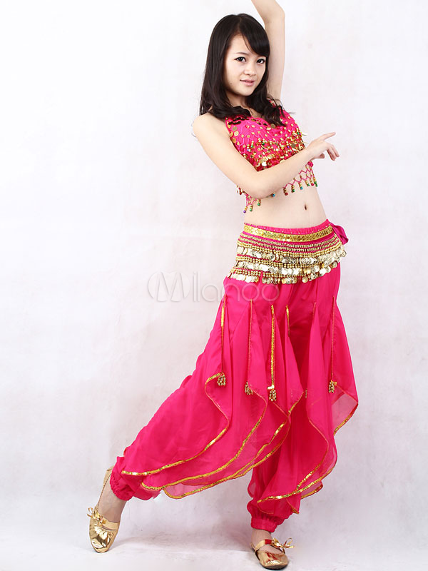 Outfit Belly Dance Costume Rose Red Chiffon Bollywood Dance Set For Women