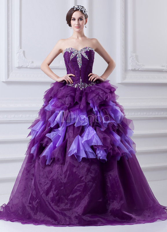 Classic Beading Organza Sweetheart Neck Fashion Ball Gown