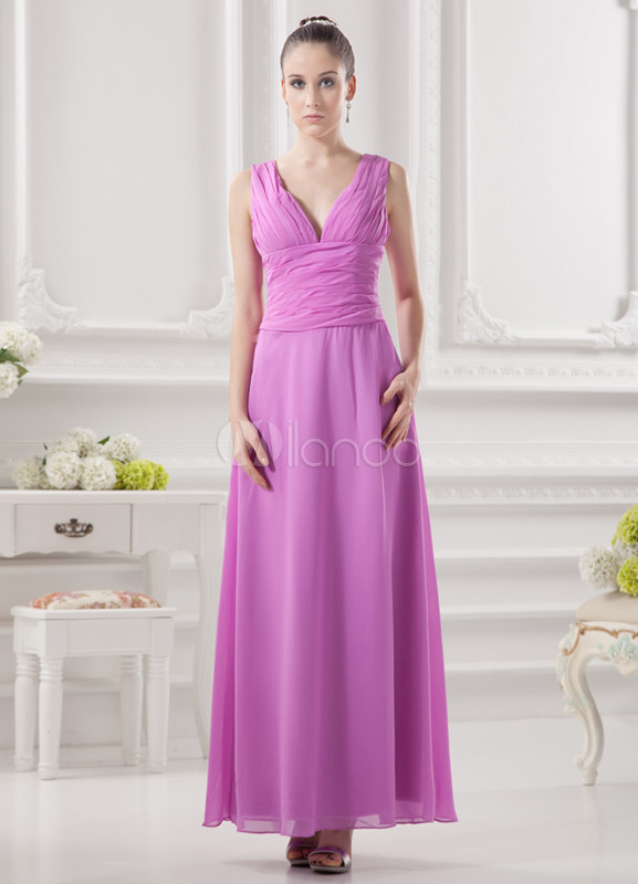 Grace A-line Fuchsia Chiffon V-Neck Fashion Bridesmaid Dress