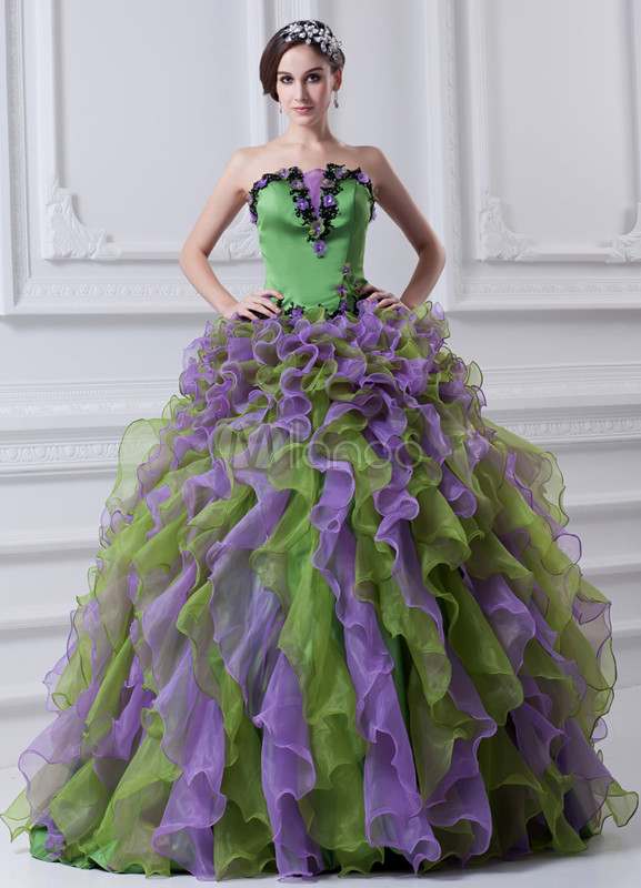 Classic Floral Organza Satin Strapless Fashion Ball Gown