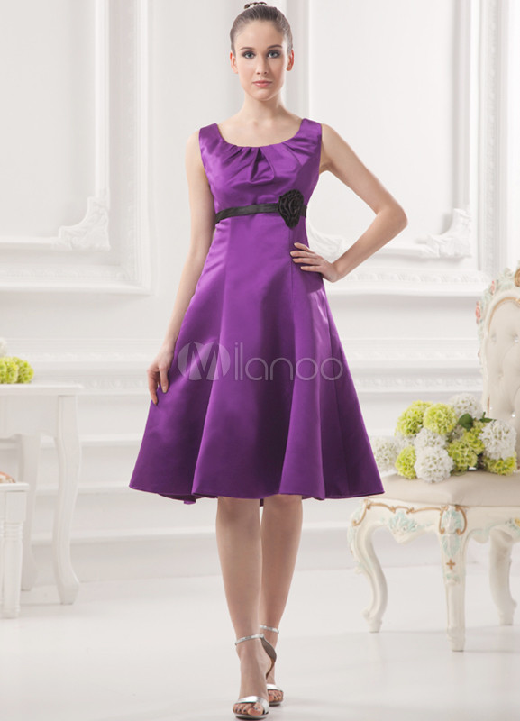 A-line Grape Satin Floral Knee-Length Wedding Bridesmaid Dress