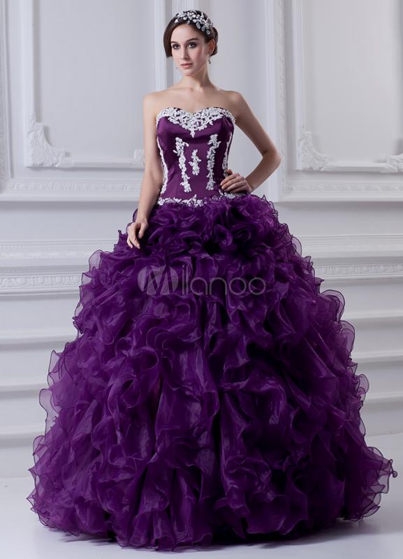 Applique Sweetheart Floor-Length Grape Organza Ball Gown