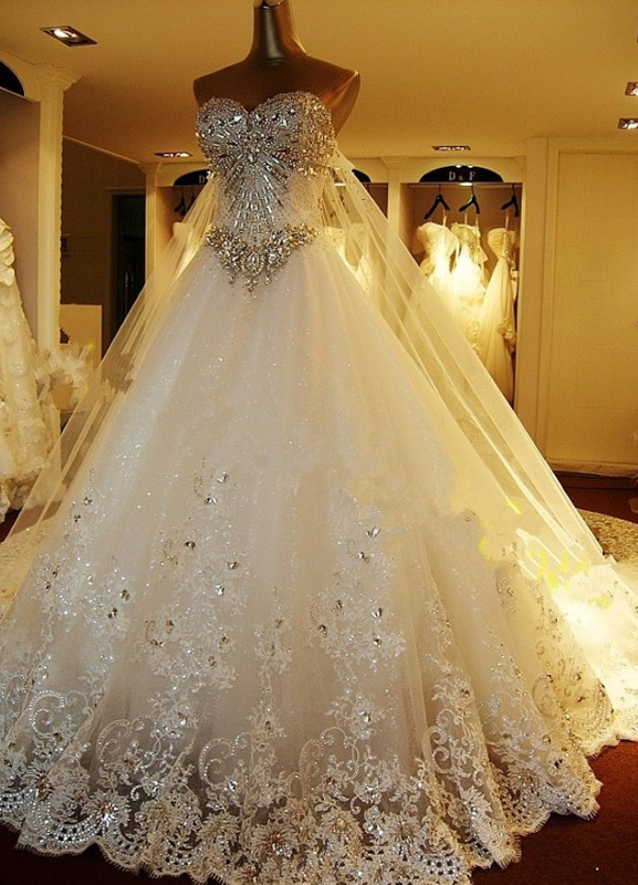 Cathedral Train Wedding Dress With Applique