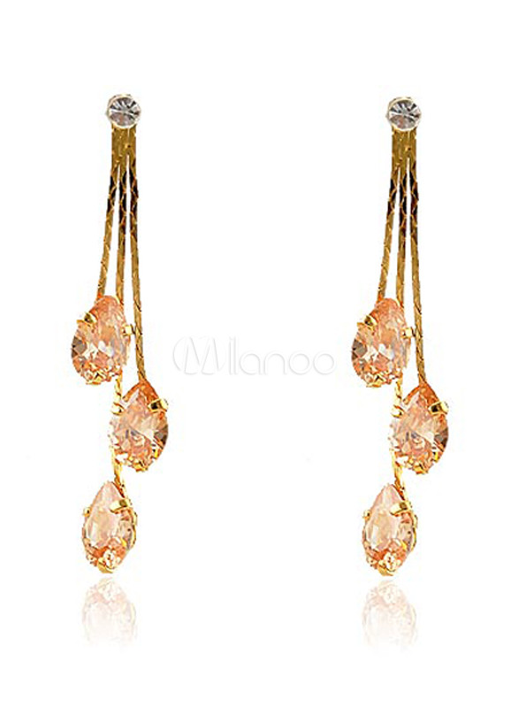 Sweet Gold Forever Zircon Metal Bride's Dangle Earrings