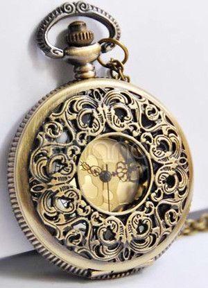 Retro Round Bronze Cut Out Metal Pocket Watch $16.99 AT vintagedancer.com