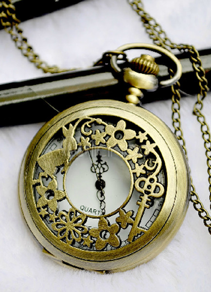 Retro Bronze Patterned Cut Out Alloy Pocket Watch