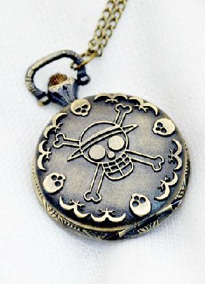 Steampunk Style Bronze Skull Embossed Alloy Pocket Watch