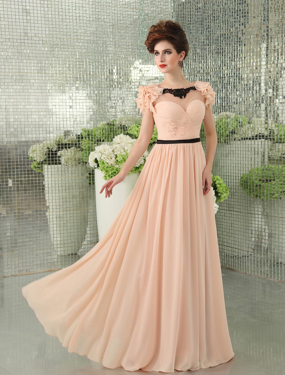 Light Pink Lace Sash Backless A-Line Chiffon Evening Dress (Wedding Evening Dresses) photo