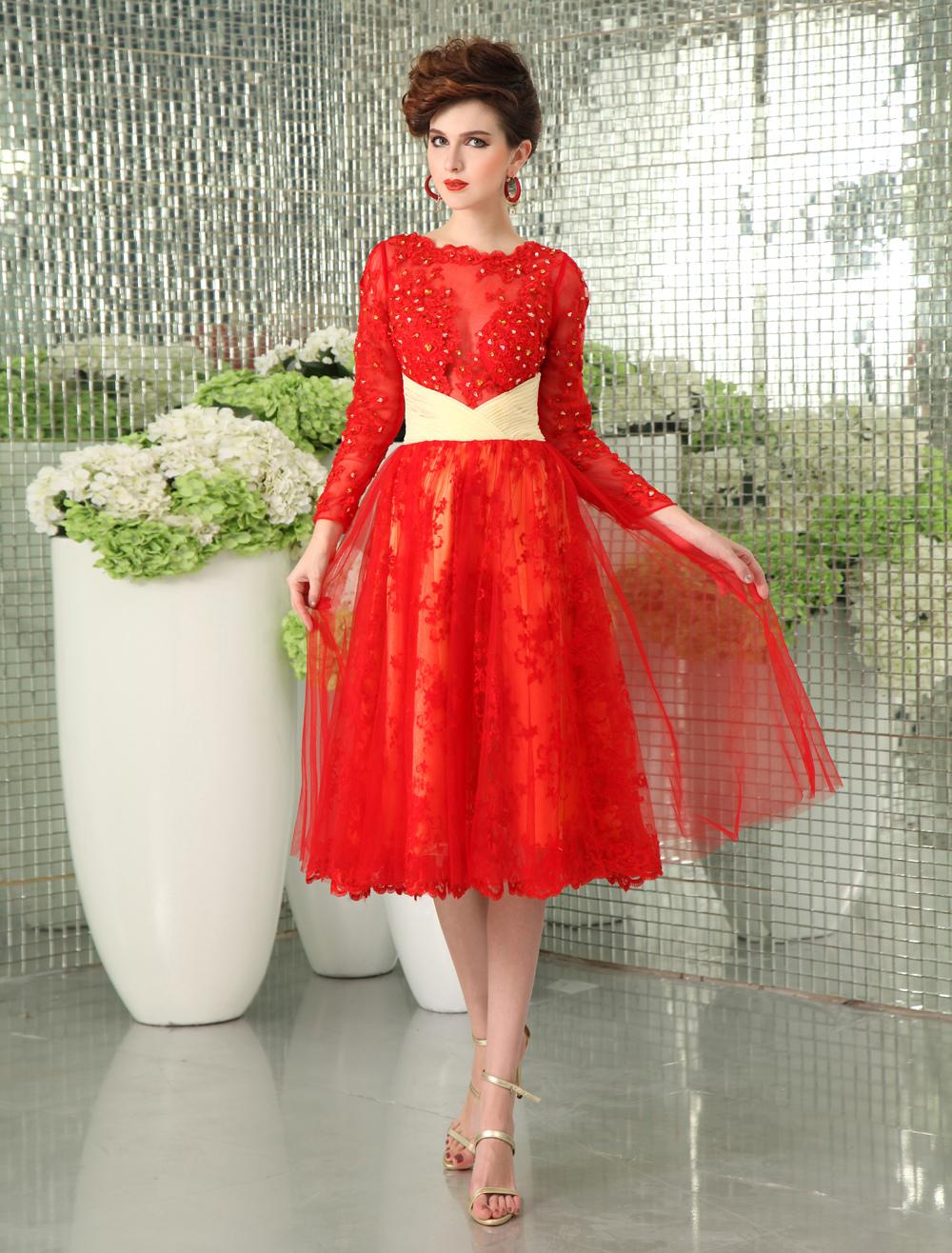 Elegant Red Lace Bateau Neck Women's Evening Dress Milanoo (Wedding Cocktail Dresses) photo