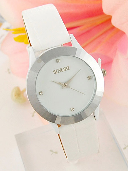 Retro Round White Leather Band Students' Watch