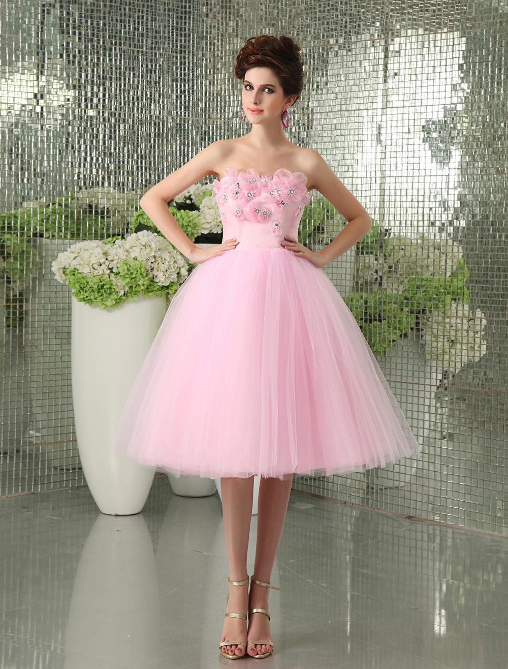 Charming Pink Net Beading Strapless Knee-Length Women's Prom Dress Milanoo (Wedding Prom Dresses) photo