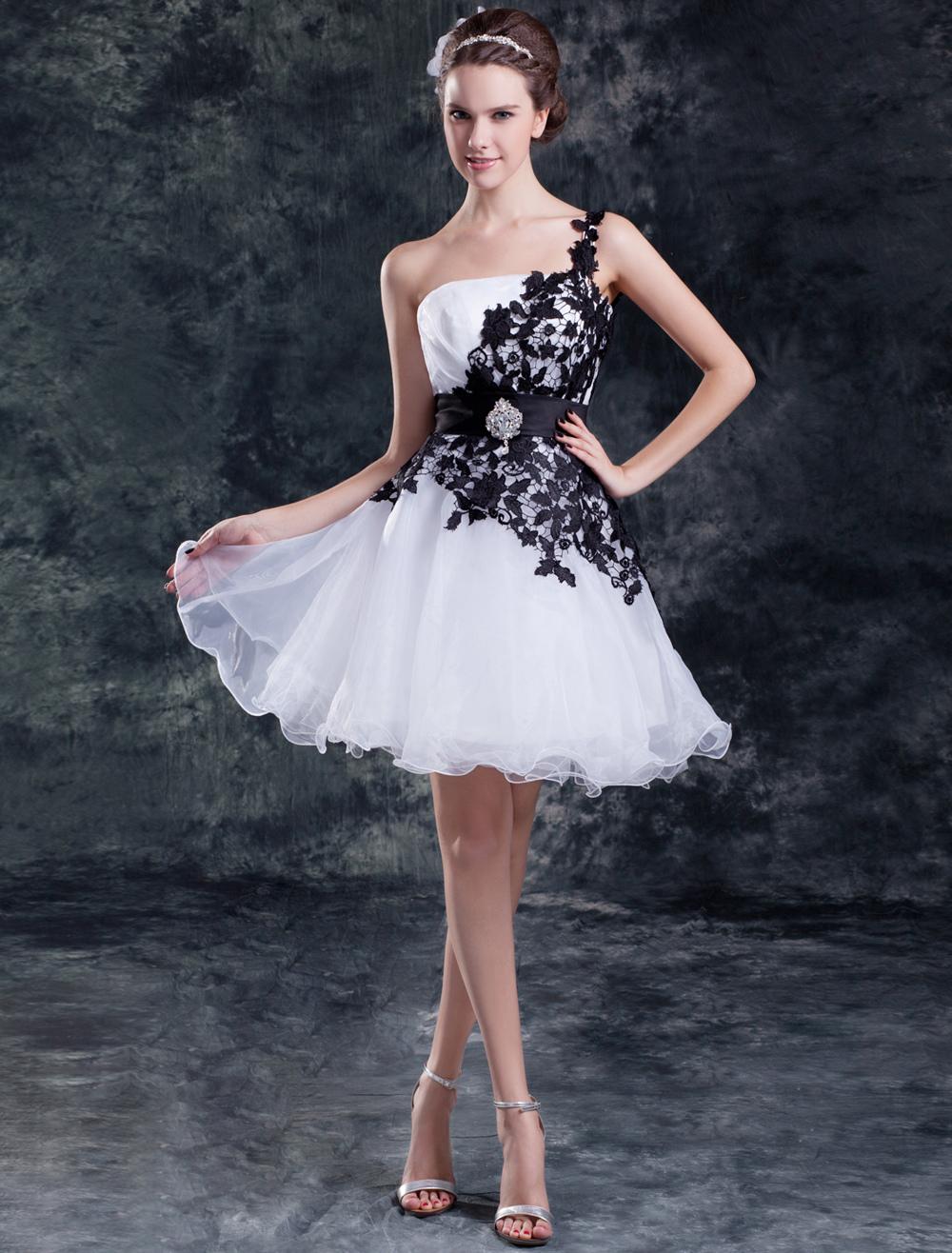 Abito da sposa bianco organza monospalla vestito da ballo corto/mini ...