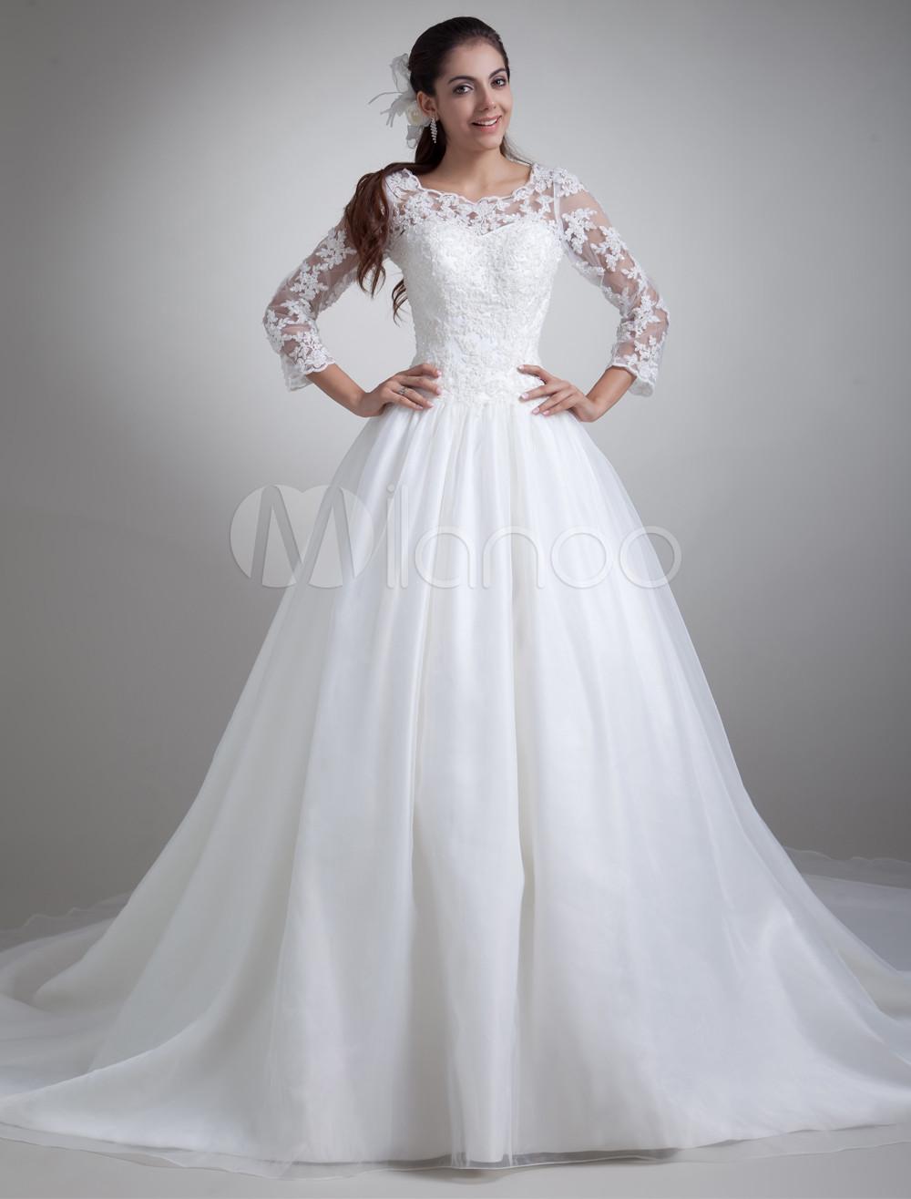 Beautiful White Jewel Neck Wedding Dress For Bride photo