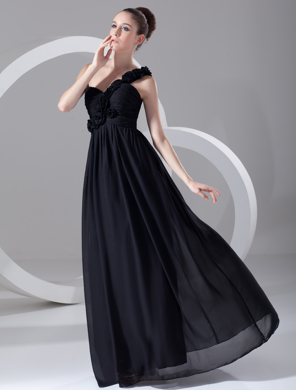 Black Chiffon Floral One-Shoulder Evening Dress (Wedding Cheap Party Dress) photo