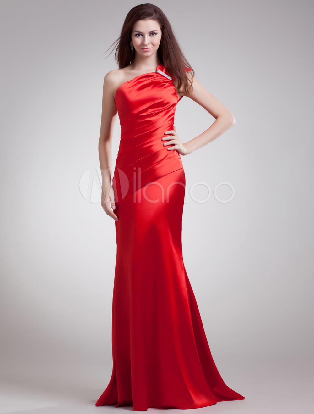 Red Sheath Rhinestone One-Shoulder Evening Dress with Grace Court Train (Wedding Evening Dresses) photo
