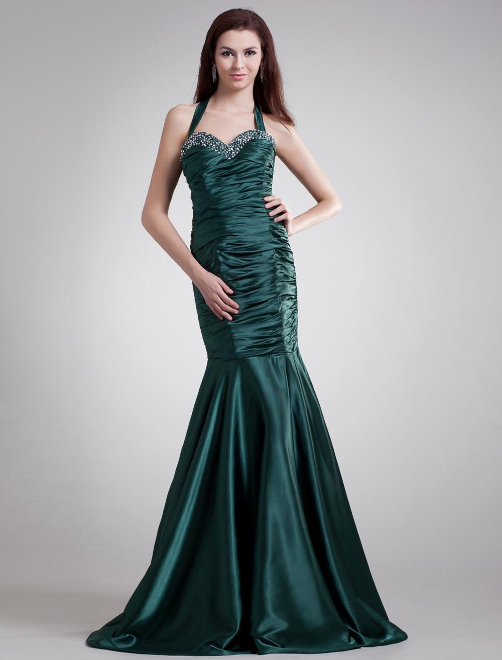 Charming Dark Green Halter Beading Ball Gown Evening Dress (Wedding Evening Dresses) photo