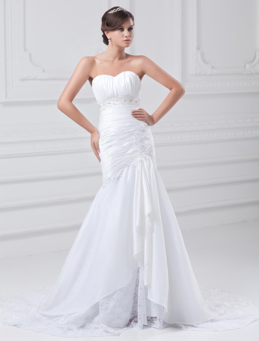 White Mermaid Beading Taffeta Wedding Dress For Bride photo