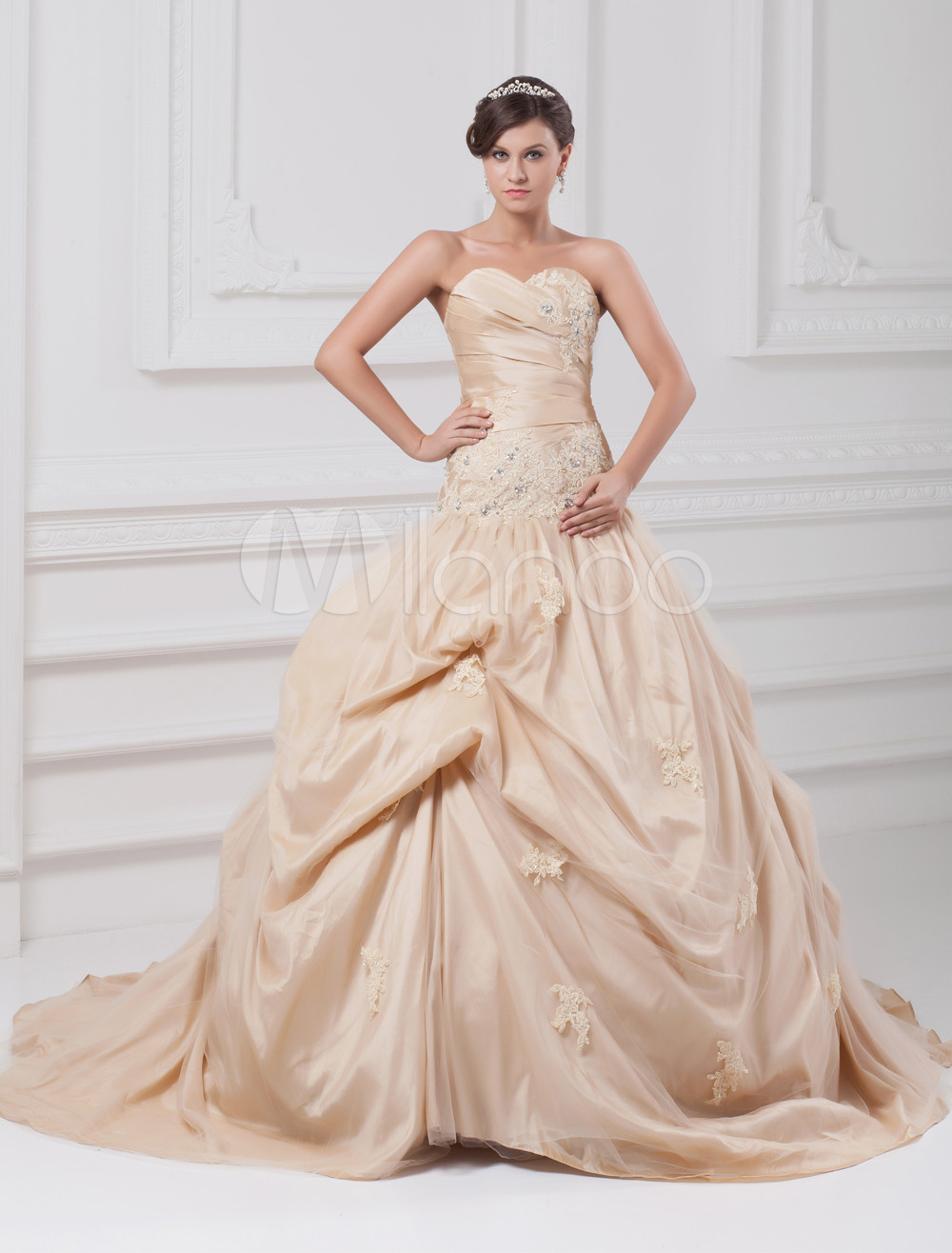 Ball Gown Strapless Rhinestone Champagne Bridal Wedding Dress with Sweetheart Neck