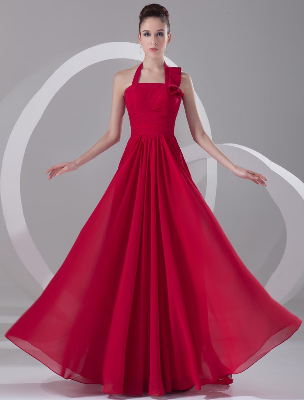 Wine Red Chiffon Cascading Ruffle Halter Women's Evening Dress (Wedding Evening Dresses) photo