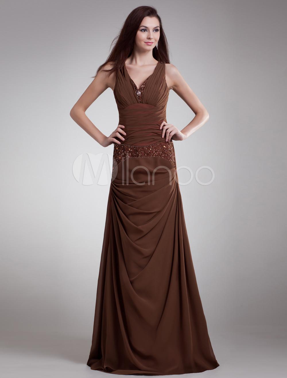 robe de soire en chiffon marron avec perles de col v milanoocom - Milanoo Robe De Soiree Pour Mariage