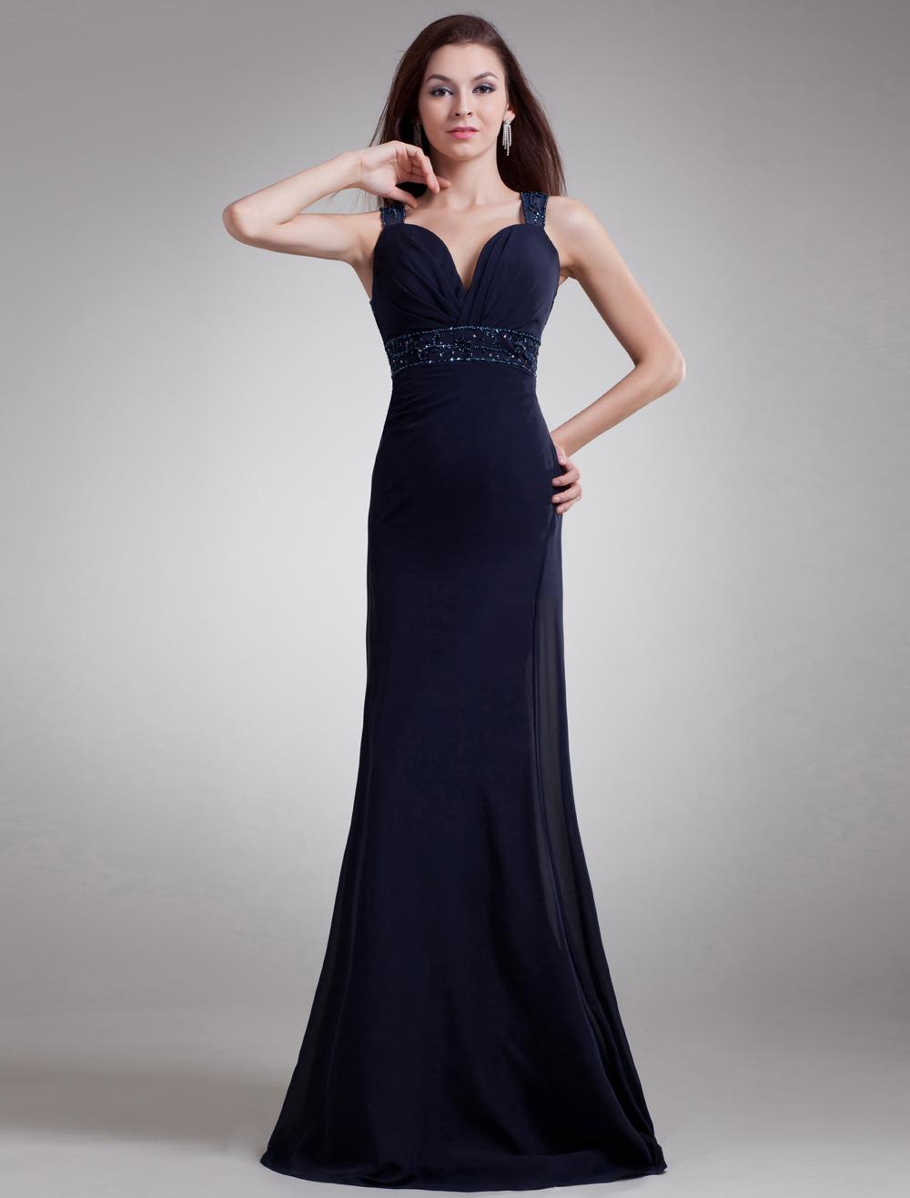 Vestidos Largos De Noche Azul Marino
