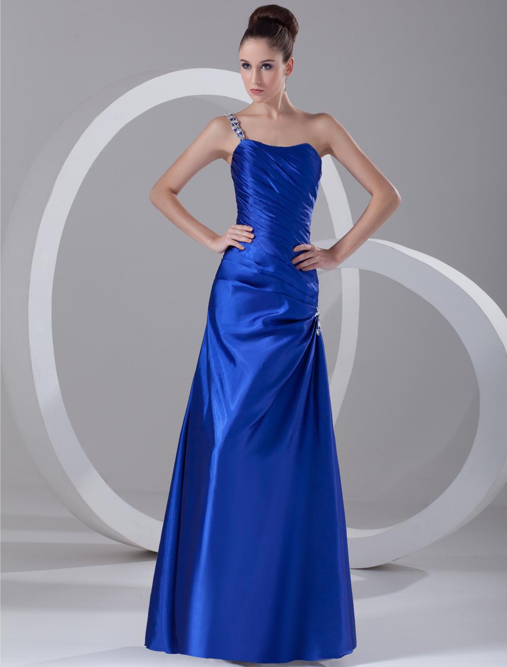 Chic Royal Blue Rhinestone One-Shoulder Women's Evening Dress (Wedding Evening Dresses) photo