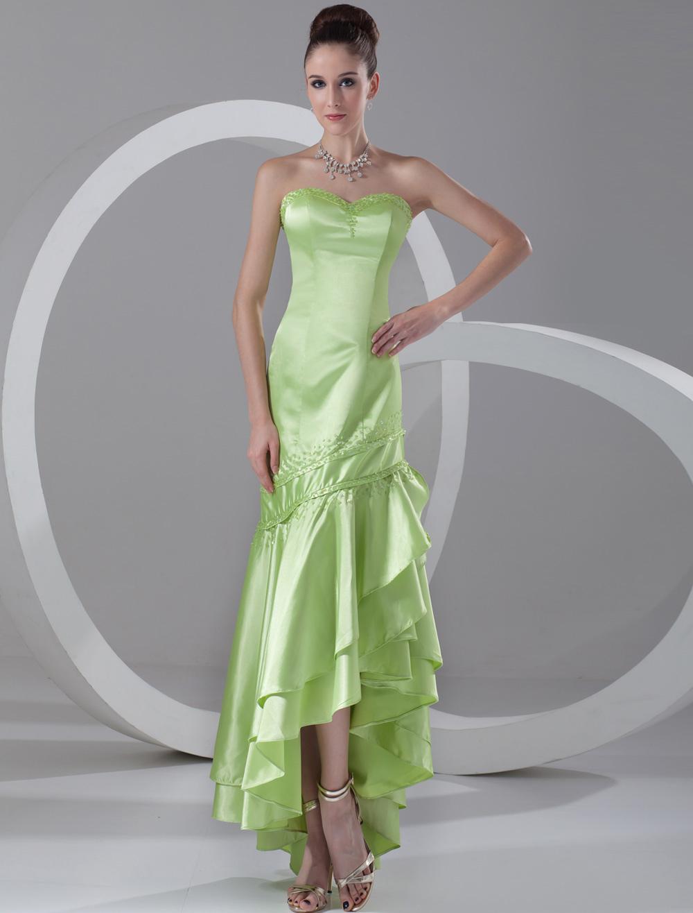 Sweetheart Evening Dress Neon Green Sequin Strapless Mermaid Prom Dress High Low Ruffle Tiered Formal Dress (Wedding Evening Dresses) photo