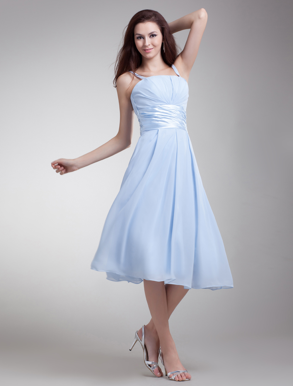 Baby Blue Bridesmaid Dress Chiffon Spaghetti Strap Ruched Waist A Line Prom Dress