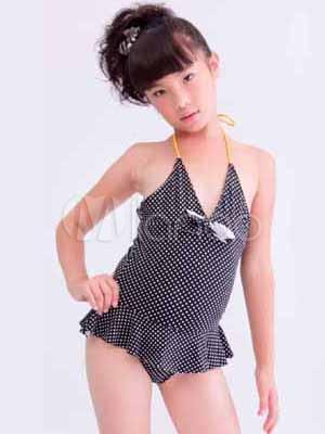 cute black polka dot pattern fiocco poliestere costumi da bagno per ragazze no4